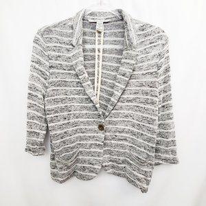 AMERICAN RAG CIE Knit Stripe Button Blazer EUC